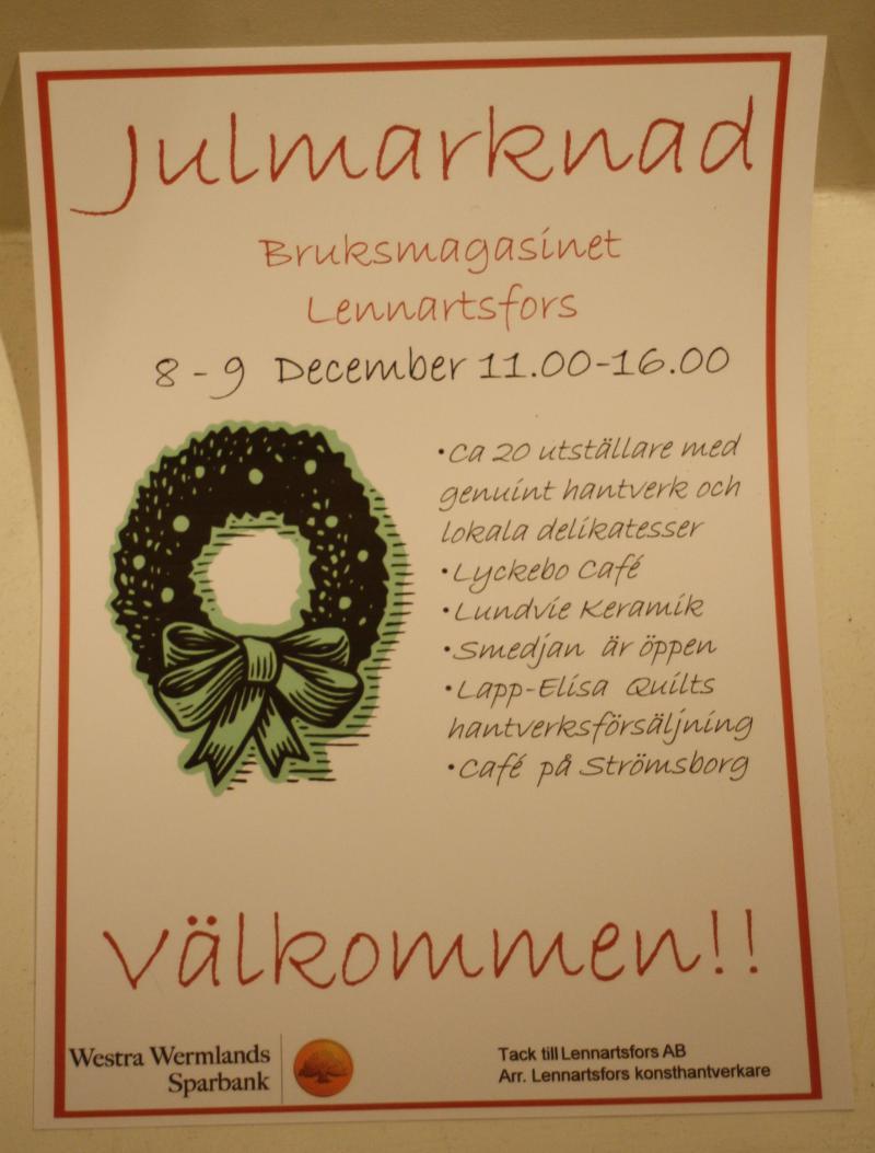 Julmarknad i Lennartsfors på andra advent-Gittas Verkstad